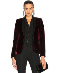 Saint Laurent Velvet Single Button Blazer In Red