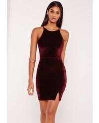 Missguided 90s Neck Split Hem Velvet Bodycon Dress Burgundy