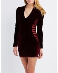 Charlotte Russe Velvet Caged Bodycon Dress
