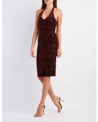 Charlotte Russe Velvet Patterned Halter Dress
