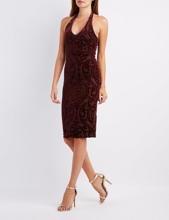 8e4d17c9f3c7 Charlotte Russe Velvet Patterned Halter Dress, $29   Charlotte Russe ...