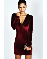 Boohoo Kate Velvet Plunge Neck Bodycon Dress