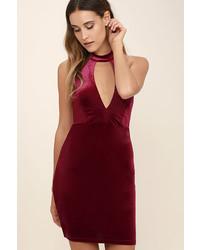 LuLu*s Hungry For Love Burgundy Velvet Bodycon Dress