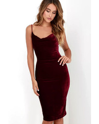 LuLu*s Jazzy Belle Burgundy Velvet Dress