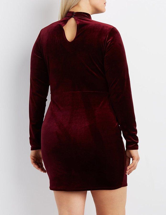 Charlotte Russe Plus Size Velvet Mock Neck Cut Out Dress, $32 ...