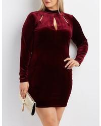 Charlotte Russe Plus Size Velvet Mock Neck Cut Out Dress