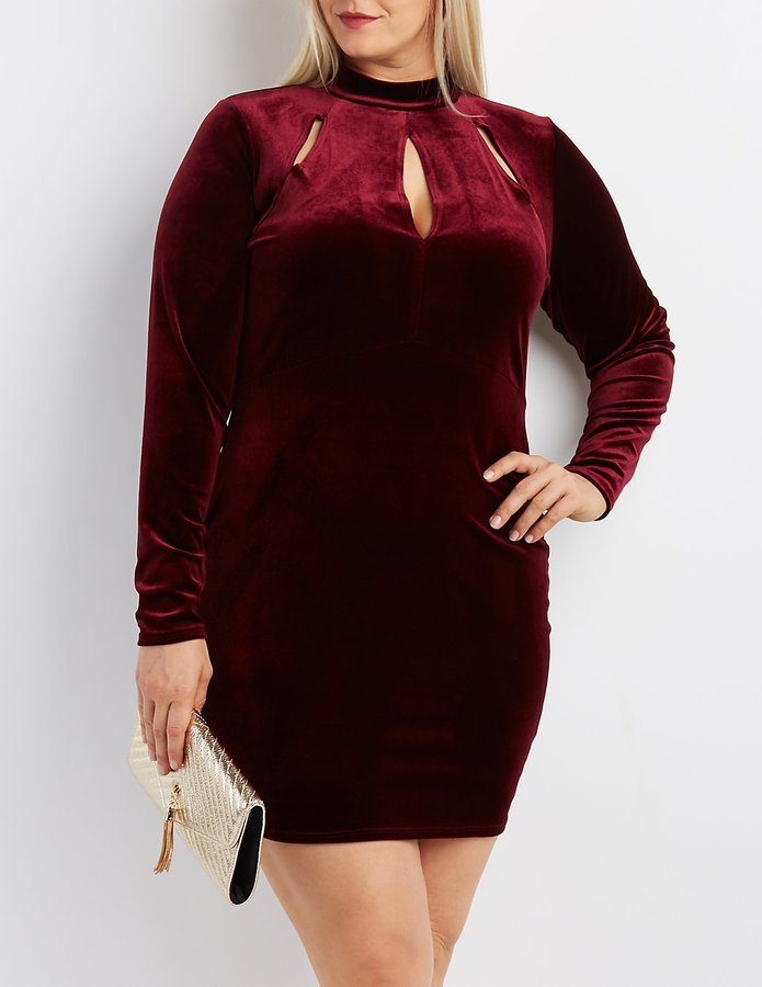 $32, Charlotte Russe Plus Size Velvet Mock Neck Cut Out Dress