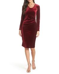 Fraiche by J Ruched Velvet Body Con Dress