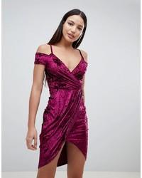 AX Paris Wrap Front Velvet Dress