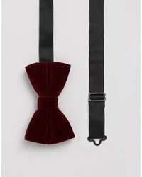 Asos Velvet Bow Tie In Burgundy
