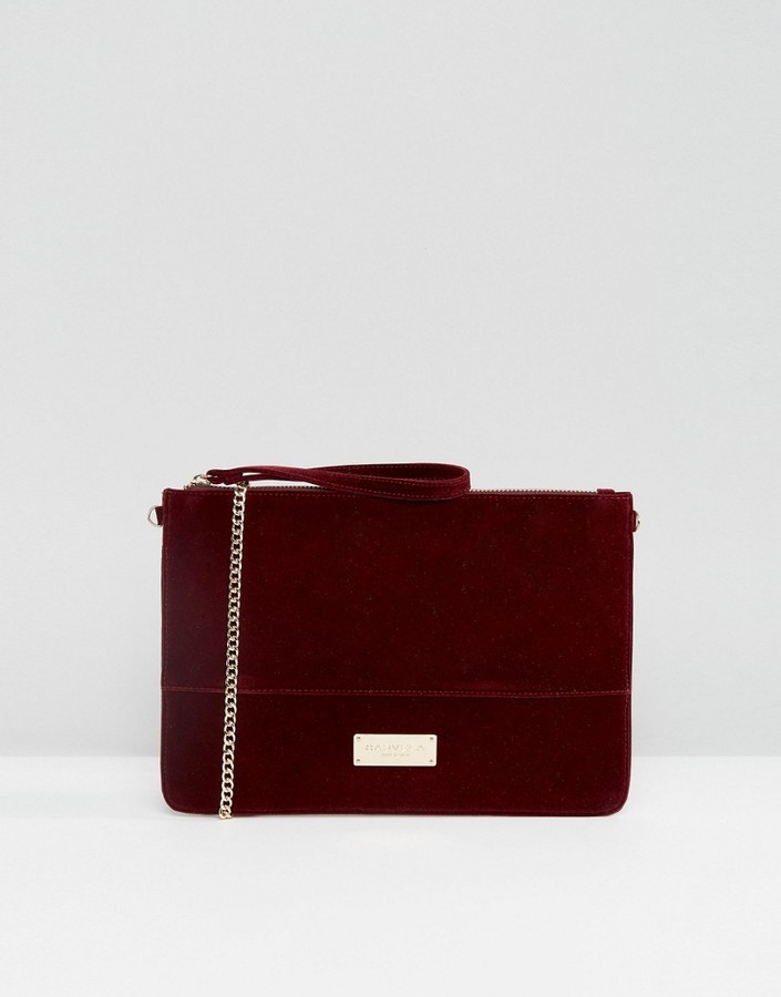 Burgundy Velvet Clutches Carvela Pouch Clutch Bag With Optional Chain Strap