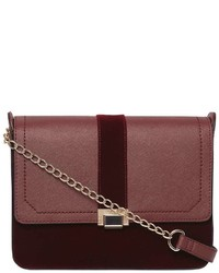 Burgundy Velvet Cross Body Bag