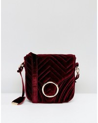 Glamorous Quilted Velvet Ring Detail Cross Body Bag