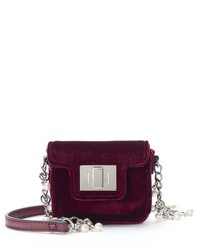 So Velvet Simulated Pearl Chain Mini Crossbody Bag