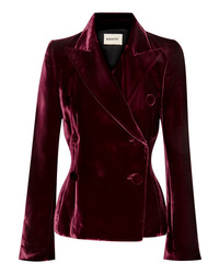 Khaite Cathy Double Breasted Velvet Blazer