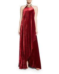 Burgundy Velvet Evening Dress