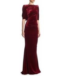 Talbot Runhof Ruched Velvet Gown