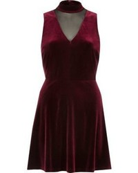 River Island Burgundy Velvet Choker Mesh Skater Dress
