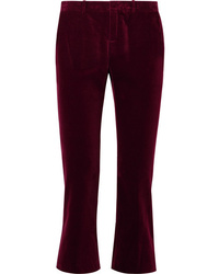 Saint Laurent Cropped Cotton Velvet Flared Pants