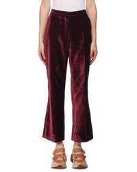 Stella McCartney Cropped Flare Leg Velvet Pants