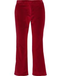 Altuzarra Nettle Cropped Velvet Flared Pants Burgundy