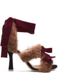 Attico Diletta Velvet Bow And Fur Sandals