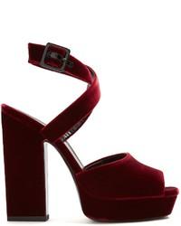 Saint Laurent Debbie Platform Heel Velvet Sandals
