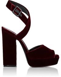 Saint Laurent Debbie Velvet Platform Sandals