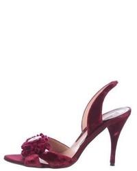Moschino Embellished Velvet Sandals