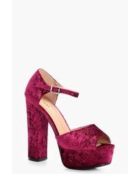 Boohoo Mia Embossed Velvet Platform Heels