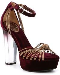 GUESS Peakabo Platform Velvet Metallic Leather Block Heel Dress Sandals