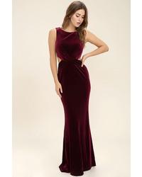 Burgundy Velvet Maxi Dress