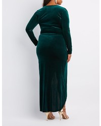 55f54762a89 ... Charlotte Russe Plus Size Velvet Surplice Maxi Dress ...
