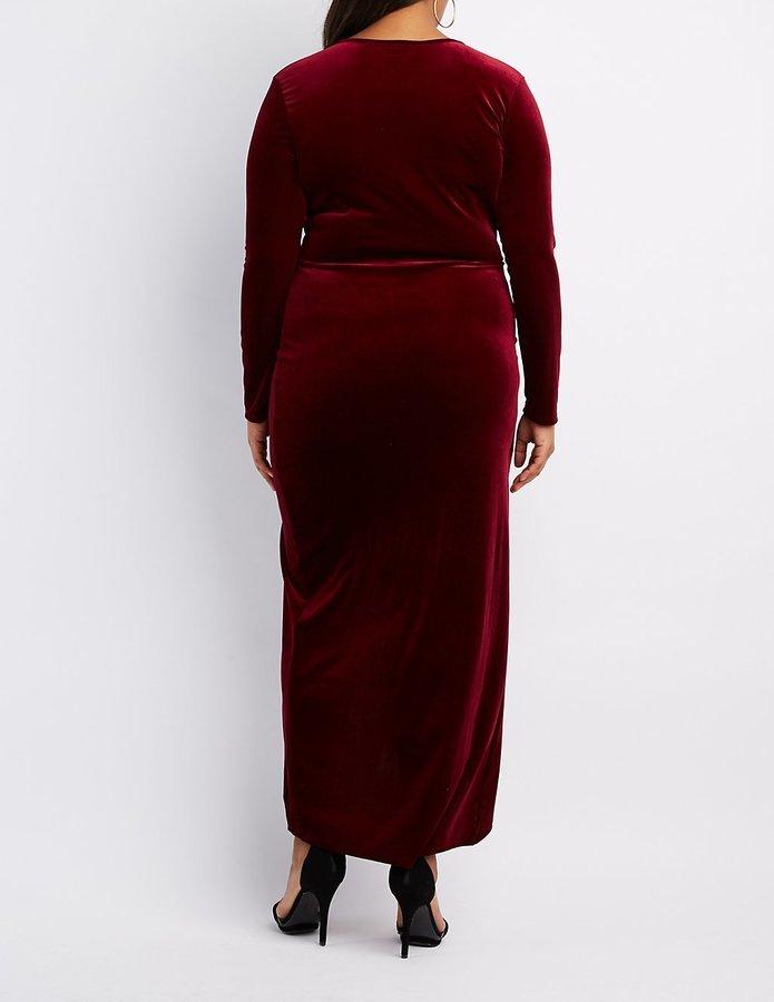02c9438d675 Charlotte Russe Plus Size Velvet Surplice Maxi Dress