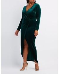 dd9ce5bbad1 ... Charlotte Russe Plus Size Velvet Surplice Maxi Dress