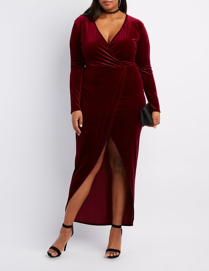 $39, Charlotte Russe Plus Size Velvet Surplice Maxi Dress