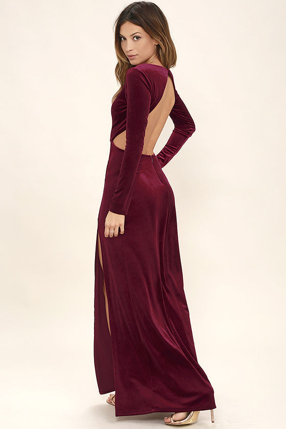 fa04e5bc65 ... LuLu s Besame Burgundy Velvet Long Sleeve Maxi Dress ...
