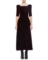Saint Laurent Half Sleeve Square Neck Velvet Midi Dress Bordeaux