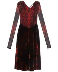 Givenchy Long Sleeved Velvet And Silk Dress