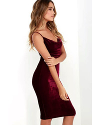 acc5568489da LuLu s Jazzy Belle Burgundy Velvet Dress