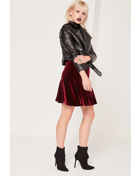 Missguided frill hem velvet mini skirt burgundy medium 850795