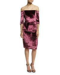 Milly Slim Off The Shoulder Panne Velvet Cocktail Dress
