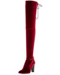 Burgundy Velvet Over The Knee Boots