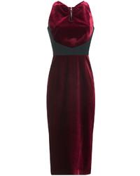 Burgundy Velvet Sheath Dress