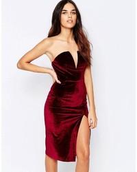 Glamorous Bandeau Velvet Pencil Dress With Side Slit