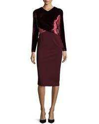 Lafayette 148 New York Long Sleeve Faux Wrap Velvet Jersey Sheath Dress Claret
