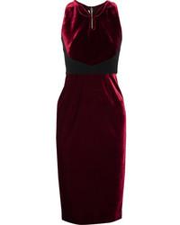 Roland Mouret Nan Crepe Paneled Velvet Dress Burgundy