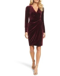 Maggy London Velvet Faux Wrap Dress