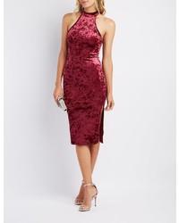 Charlotte Russe Velvet Mock Neck Bodycon Midi Dress