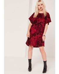 Missguided Flock Velvet Shift Dress Red
